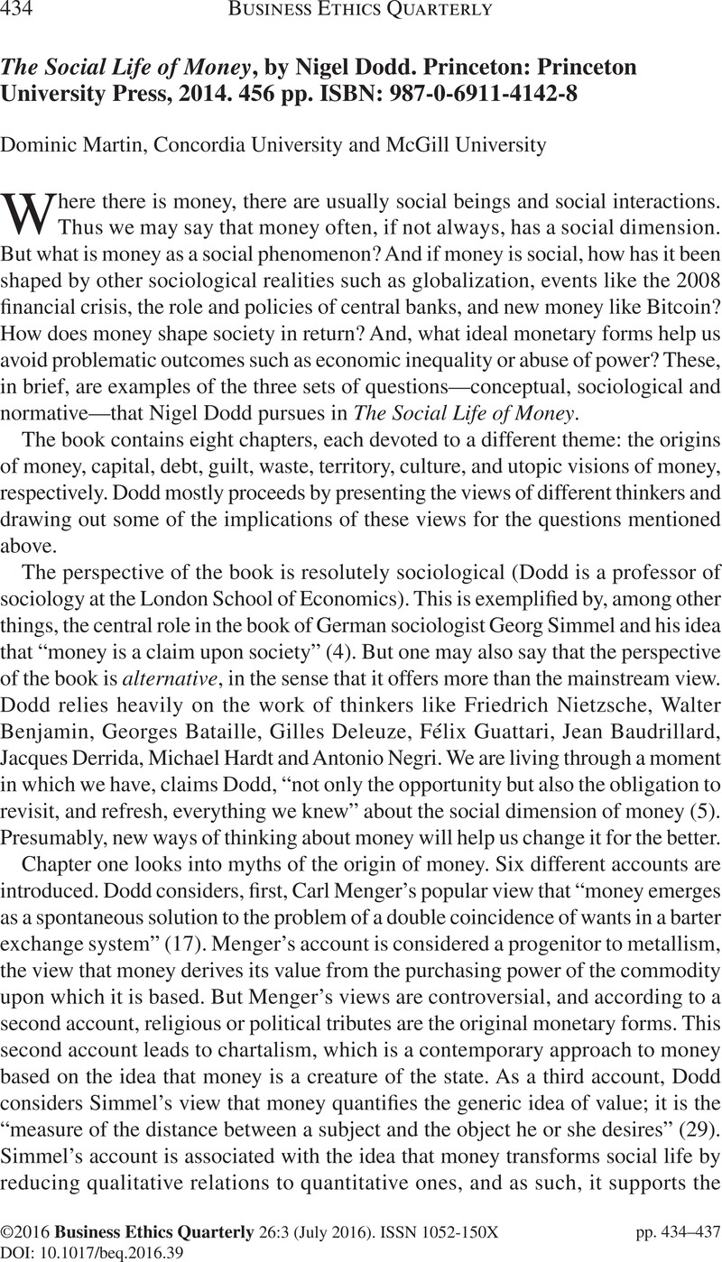 The Social Life of Money, by Nigel Dodd  Princeton
