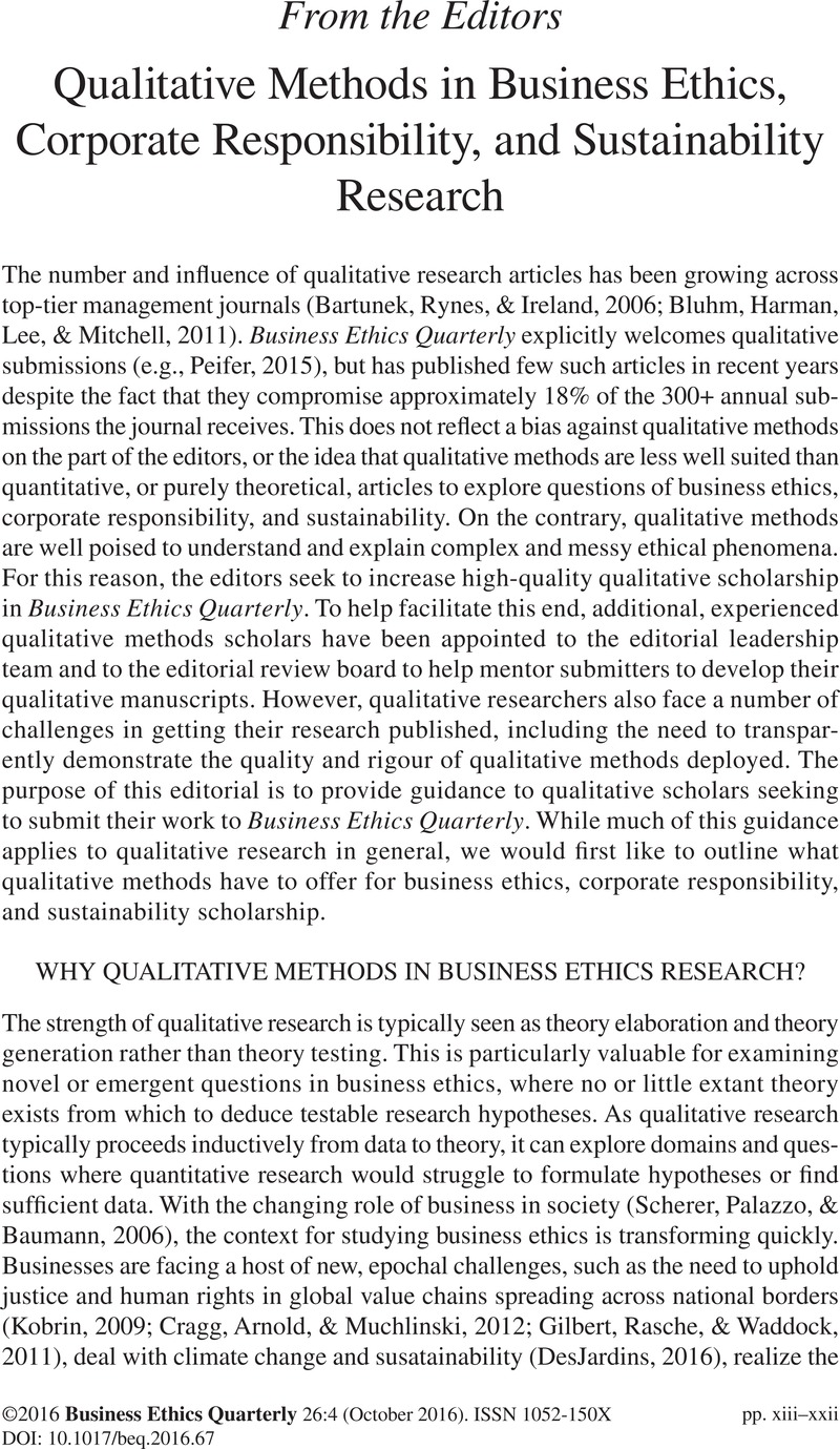 qualitative methods in business ethics corporate responsibility  qualitative methods in business ethics corporate responsibility and sustainability research