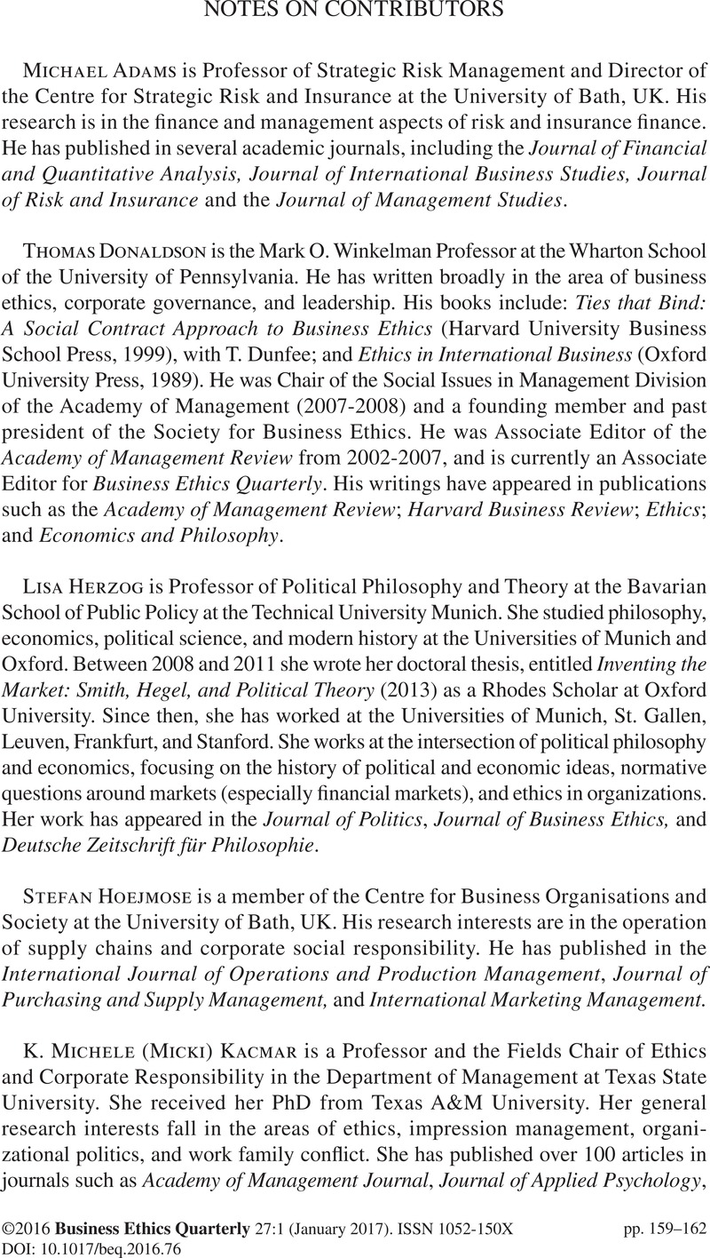 NOTES ON CONTRIBUTORS | Business Ethics Quarterly