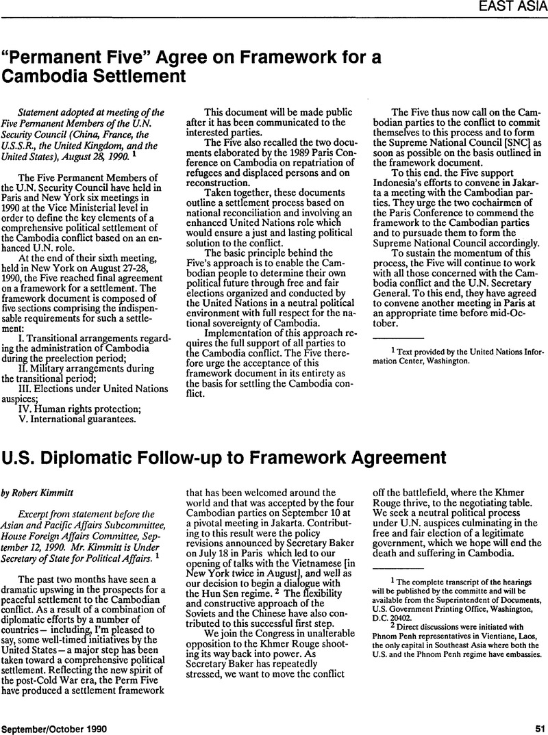 "Permanent Five"" Agree on Framework for a Cambodia Settlement"