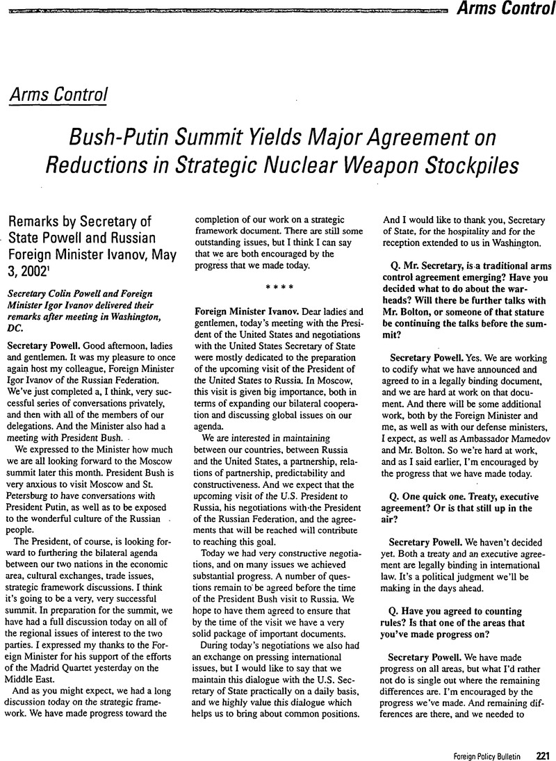 Bush Putin Summit Yields Major Agreement On Reductions In Strategic