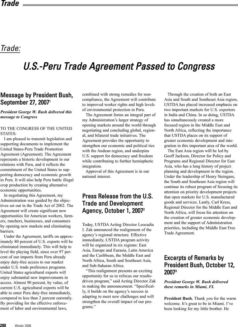 Us Peru Trade Agreement Passed To Congress Foreign Policy