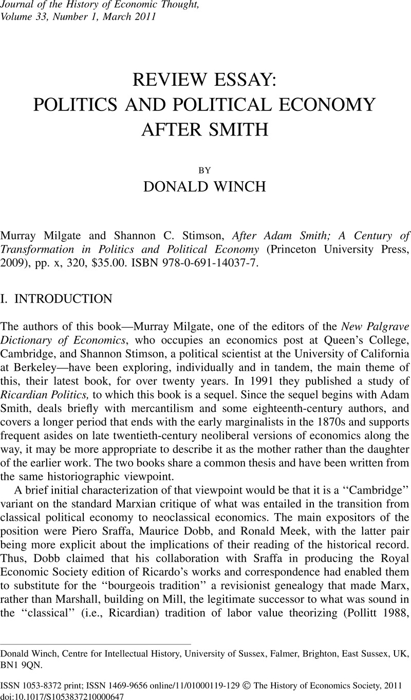 REVIEW ESSAY: POLITICS AND POLITICAL ECONOMY AFTER SMITH | Journal ...