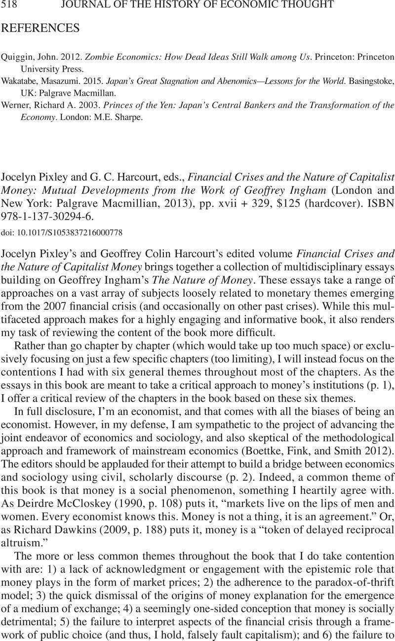 Author/geoffrey Garrison/page/2 >> Jocelyn Pixley And G C Harcourt Eds Financial Crises
