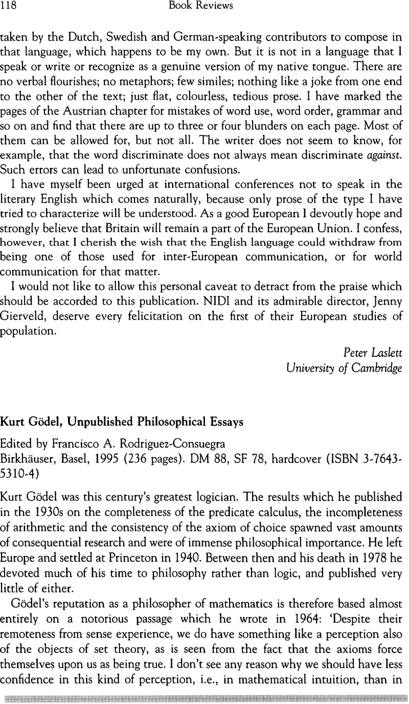 essay philosophical unpublished Kurt godel: unpublished philosophical essays 2 likes kurt godel, together with bertrand russell, is the most important name in logic, and in the.