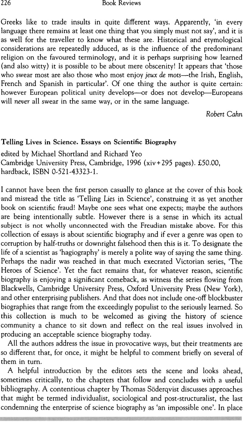 telling lives in science essays on scientific biography edited by  captcha