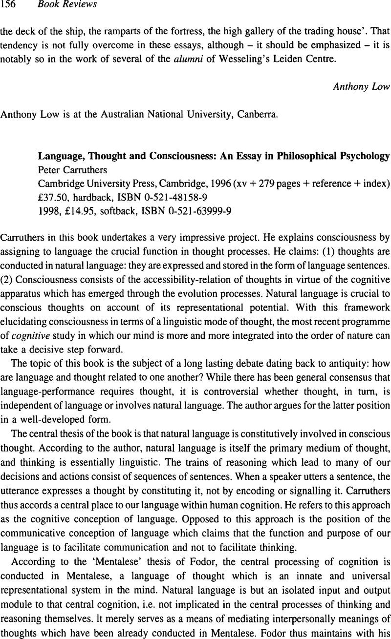 Language Thought And Consciousness An Essay In Philosophical  Language Thought And Consciousness An Essay In Philosophical  Psychologypeter Carruthers Cambridge University Press Cambridge  Xv    Pages