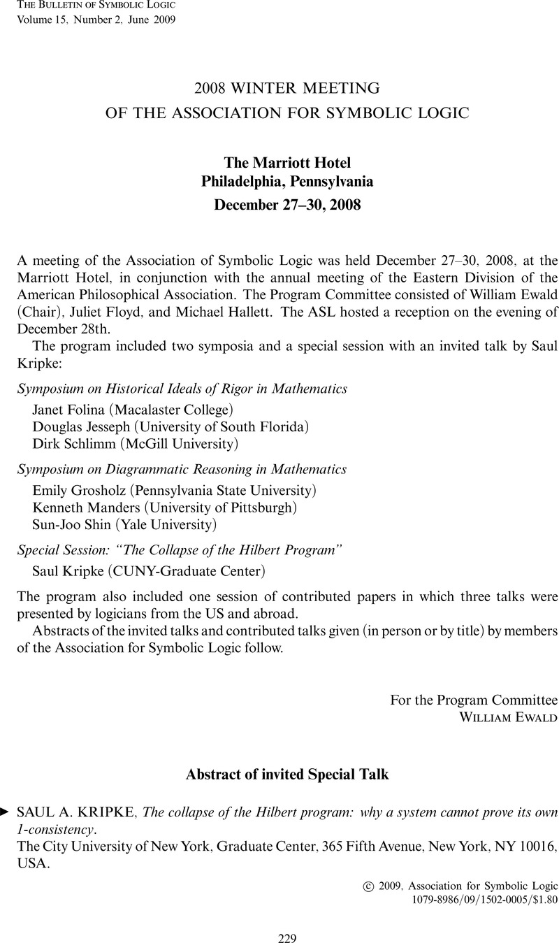 2008 Winter Meeting Of The Association For Symbolic Logic Bulletin
