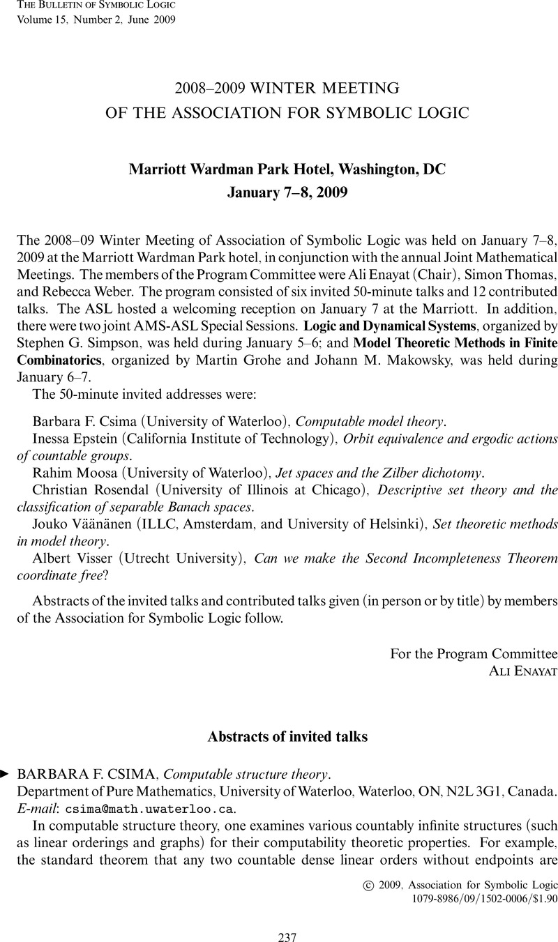 20082009 Winter Meeting Of The Association For Symbolic Logic