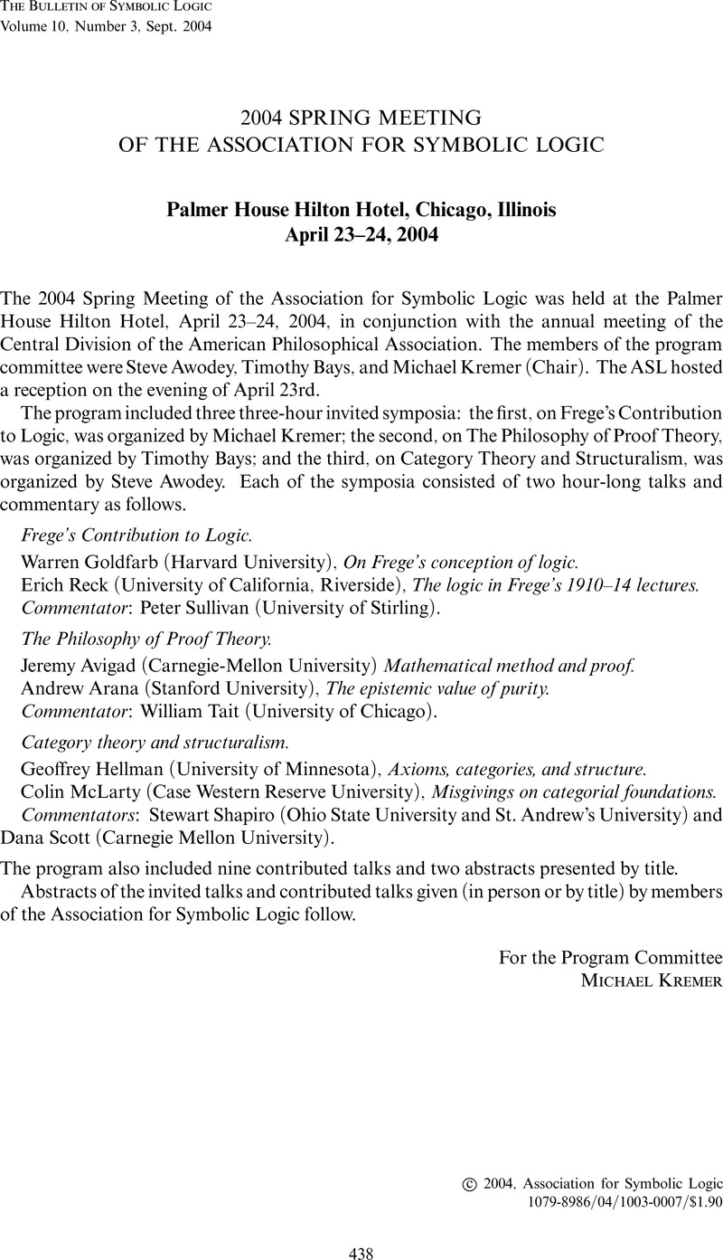 2004 Spring Meeting Of The Association For Symbolic Logic Bulletin