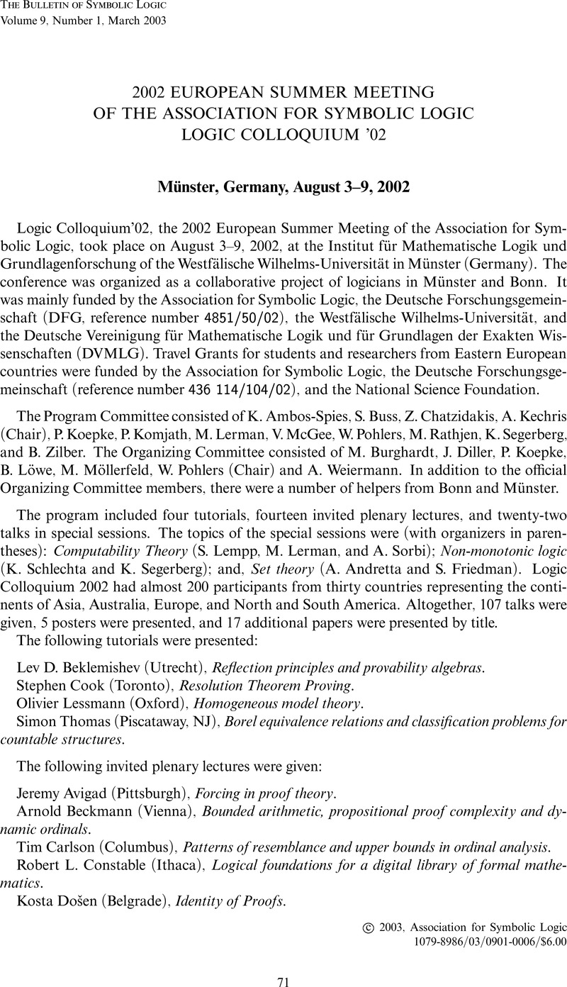 2002 European Summer Meeting Of The Association For Symbolic Logic