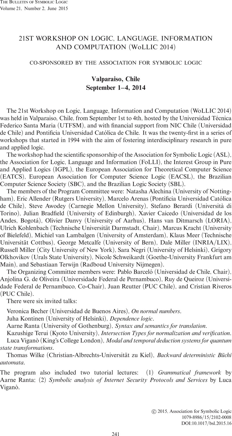 21st workshop on logic language information and computation 21st workshop on logic language information and computation wollic 2014 co sponsored by the association for symbolic logic valparaiso chile september biocorpaavc Image collections