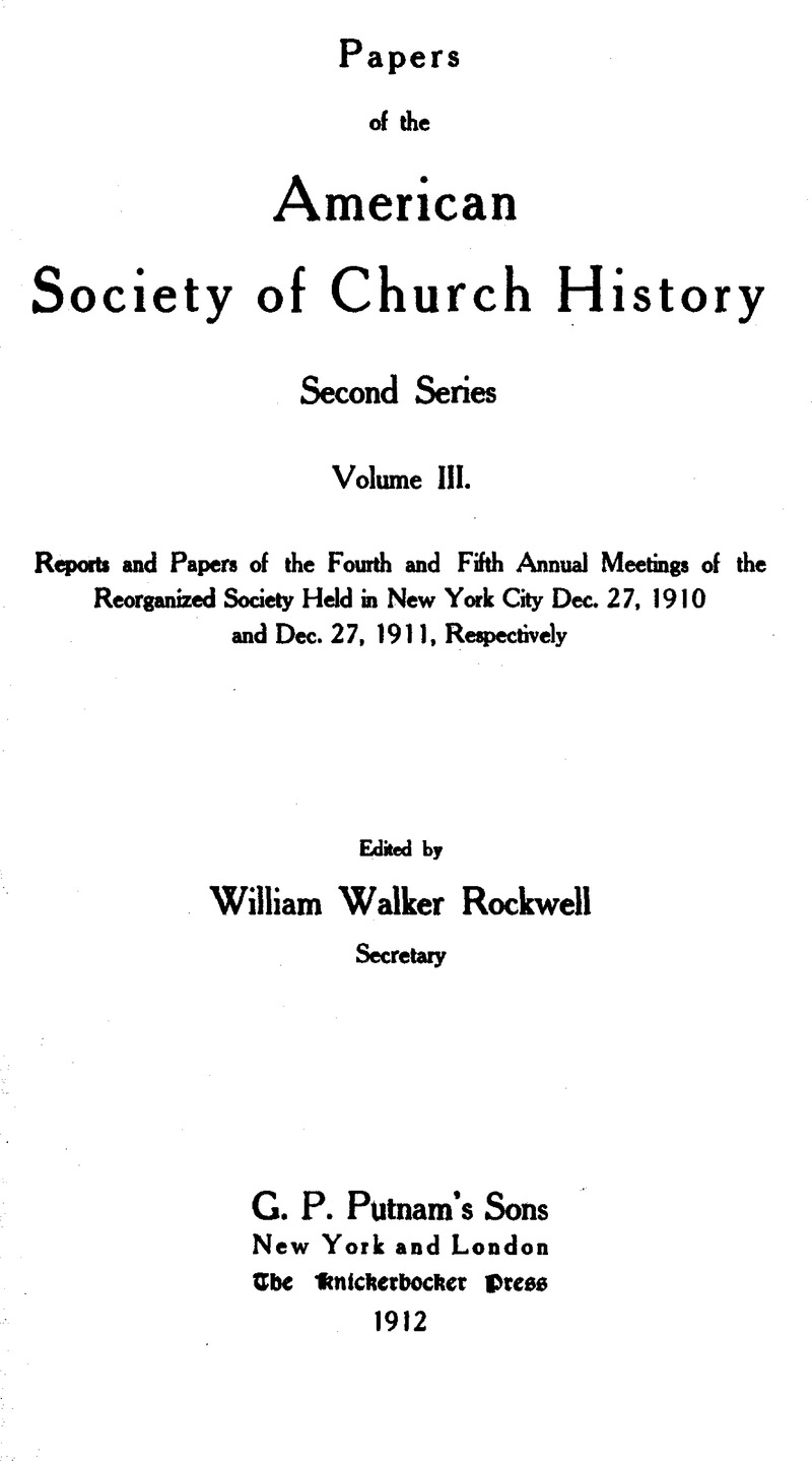PCH volume 3 Front matter   Papers of the American Society of Church