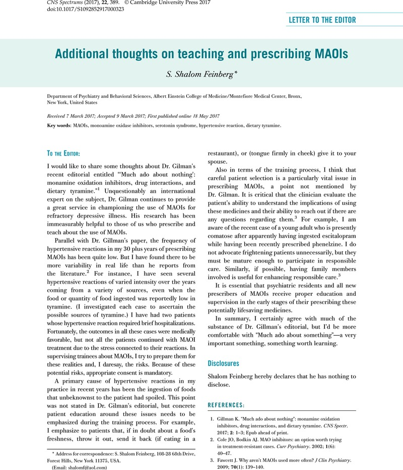 Additional thoughts on teaching and prescribing MAOIs | CNS