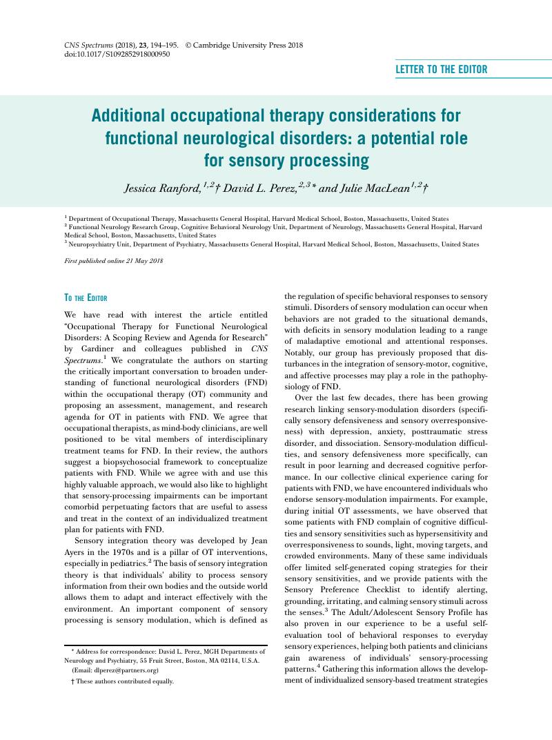 Additional occupational therapy considerations for