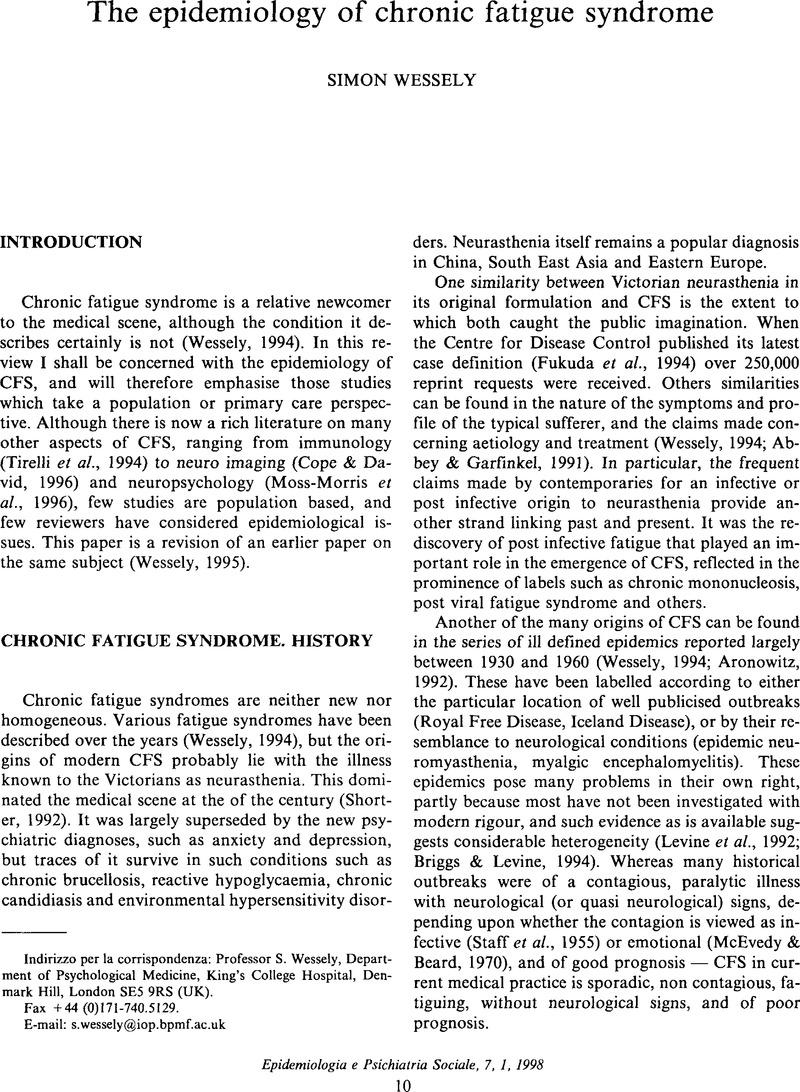 The epidemiology of chronic fatigue syndrome | Epidemiology