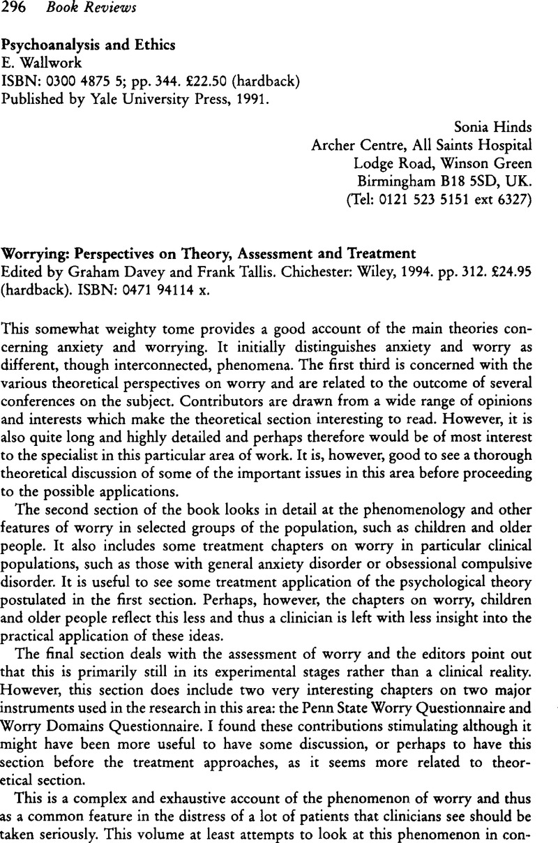 Worrying: Perspectives on Theory, Assessment and Treatment