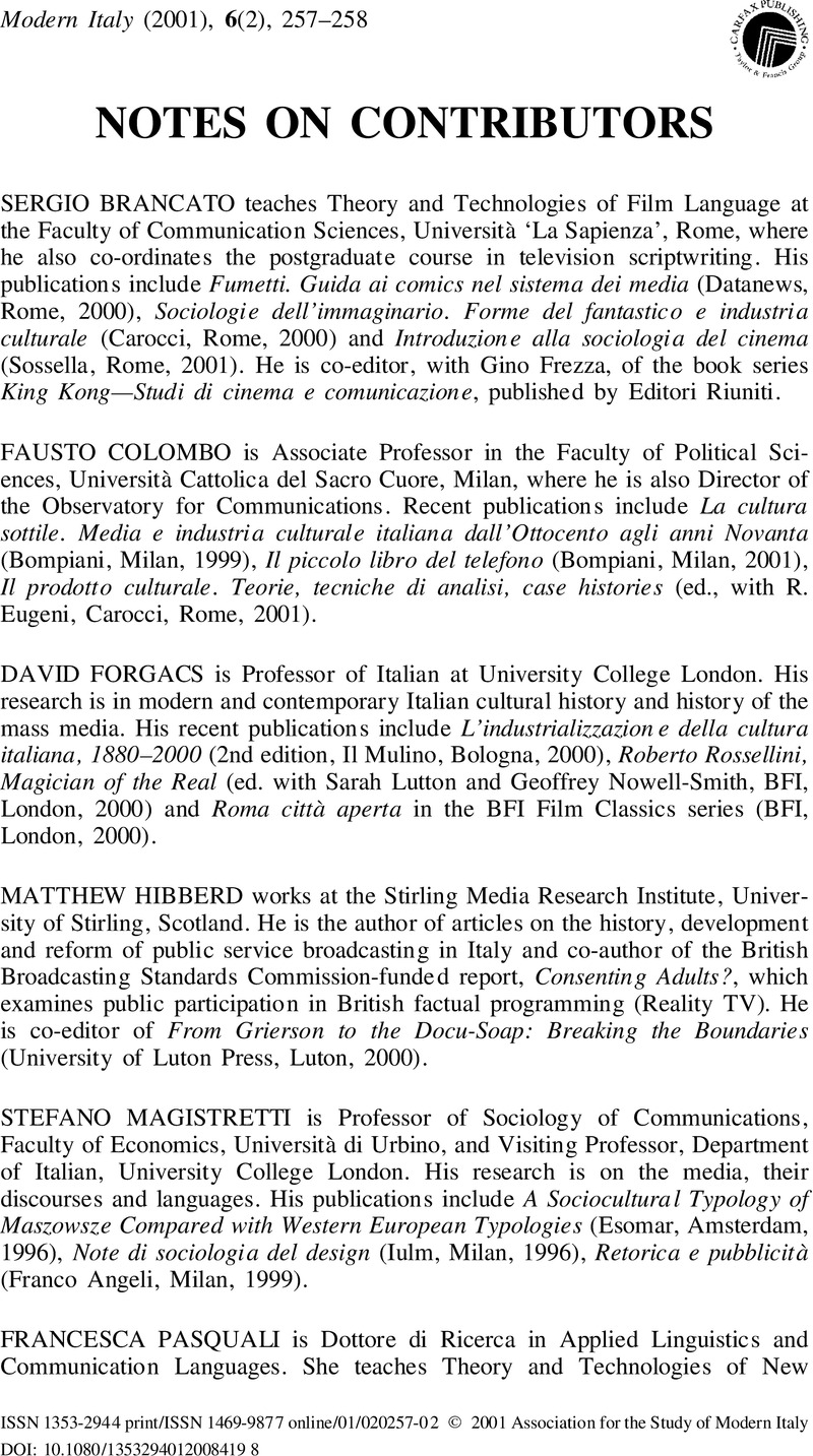 Notes on contributors | Modern Italy | Cambridge Core