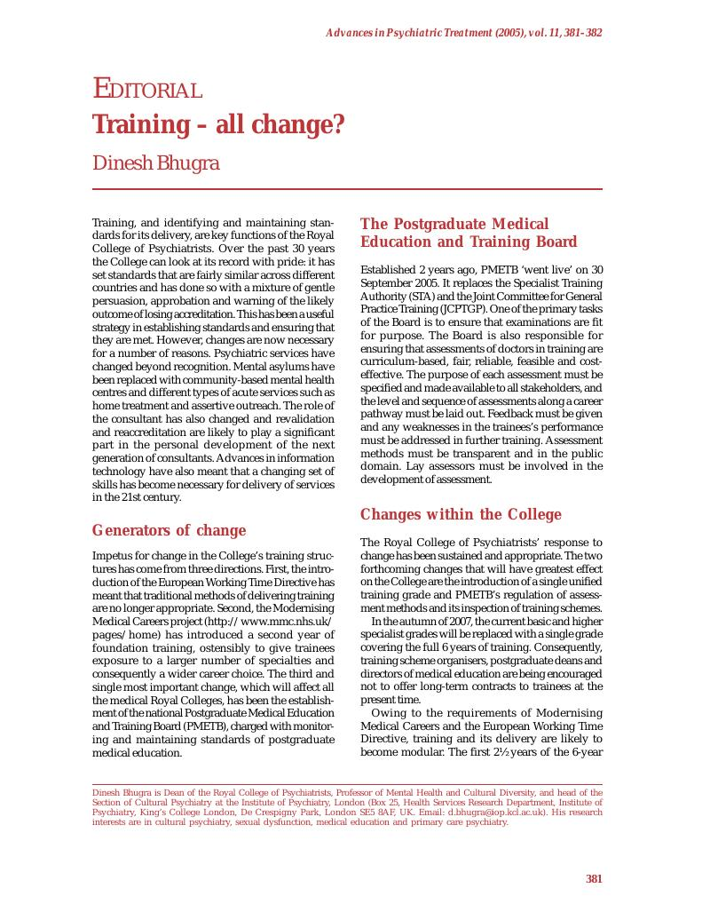 Training – all change? | Advances in Psychiatric Treatment