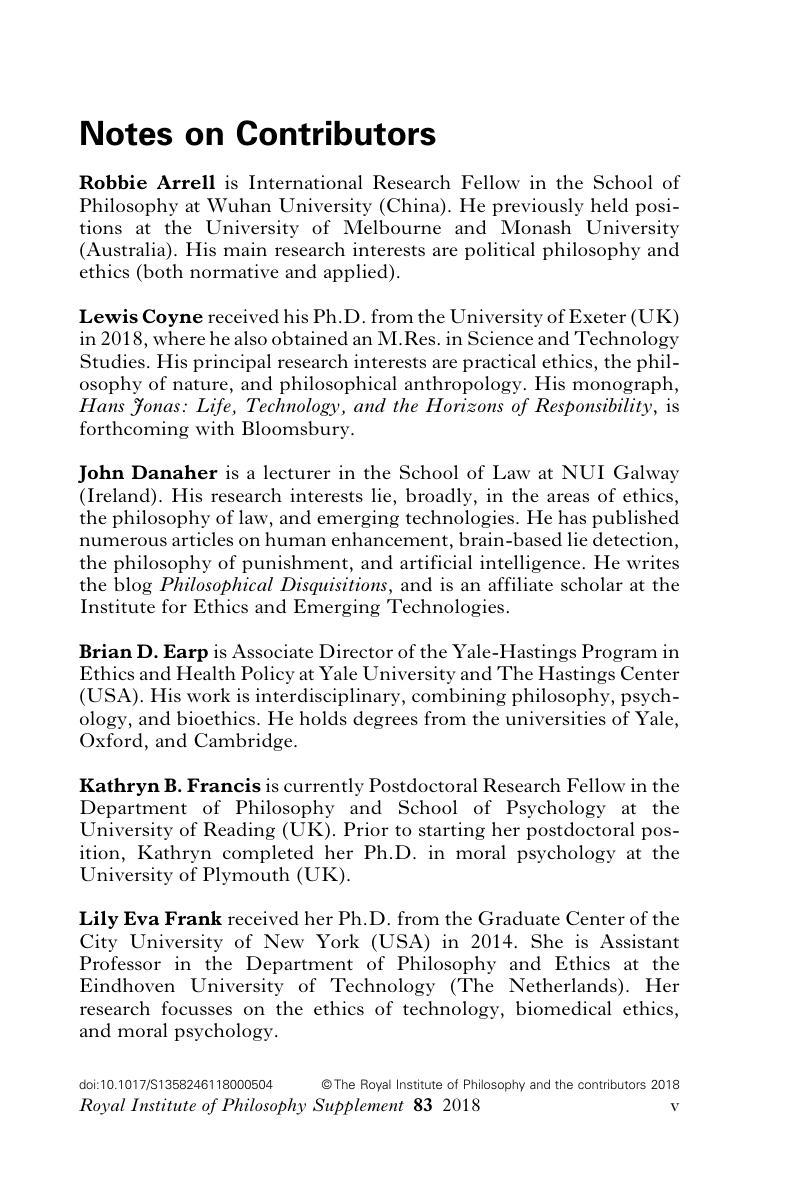 Notes on Contributors   Royal Institute of Philosophy