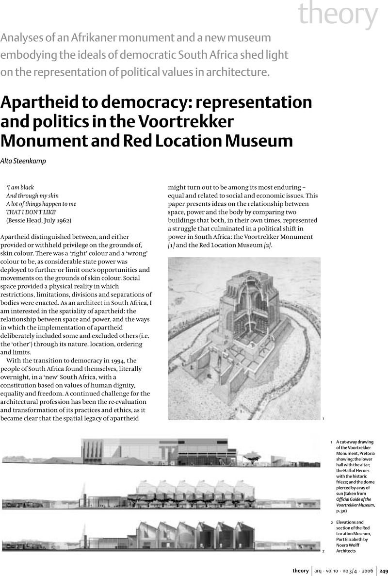 Apartheid to democracy: representation and politics in the