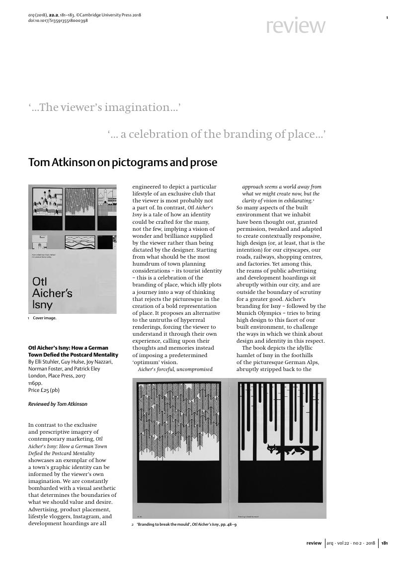 Tom Atkinson on pictograms and prose - Otl Aicher's Isny: How a