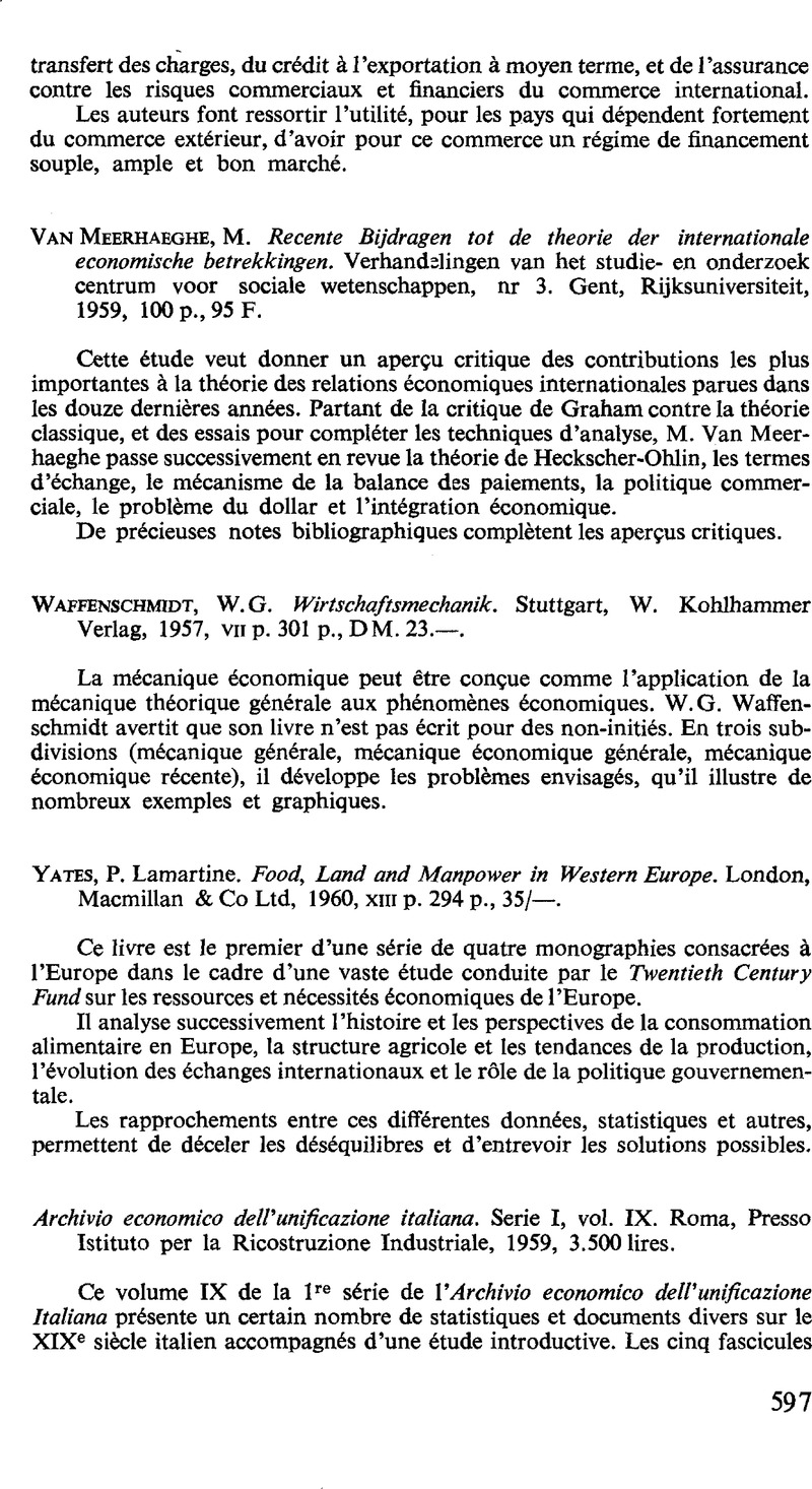 P  Lamartine Yates  Food, Land and Manpower in Western Europe