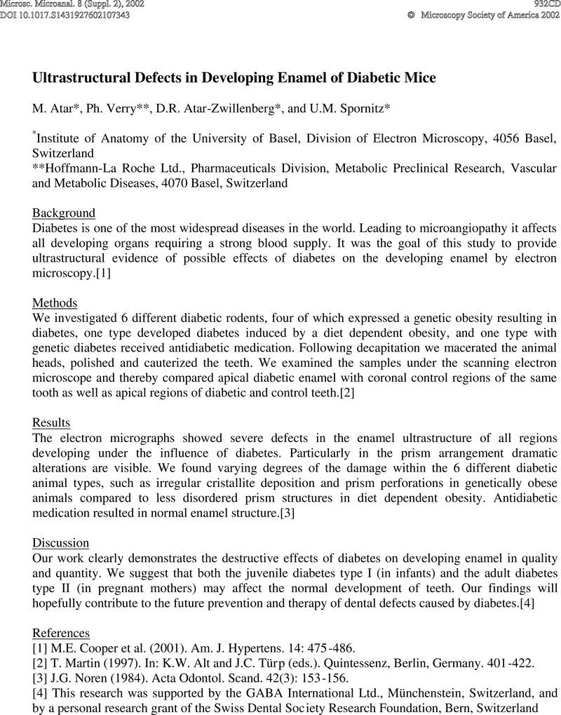 Ultrastructural Defects in Developing Enamel of Diabetic Mice