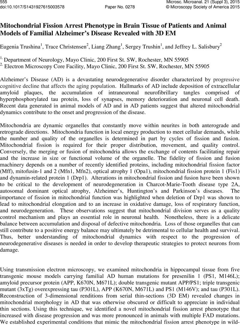 Mitochondrial Fission Arrest Phenotype in Brain Tissue of Patients