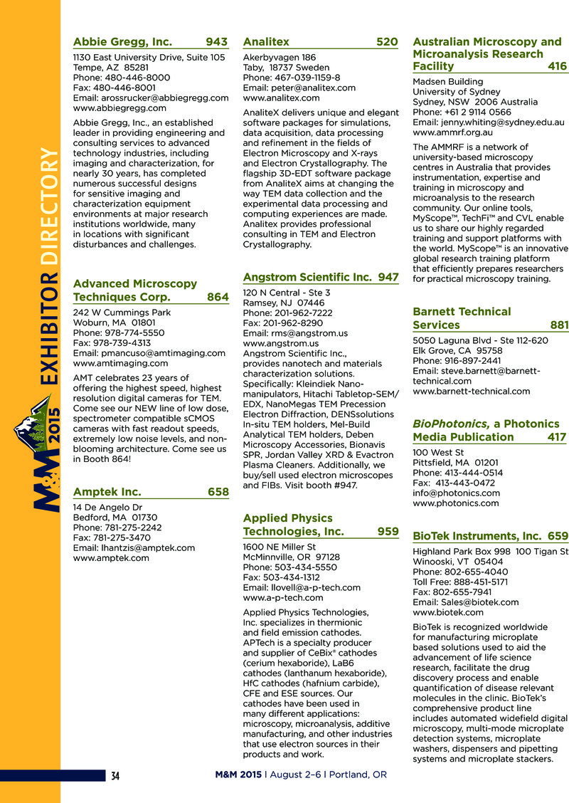Exhibitor Directory | Microscopy and Microanalysis