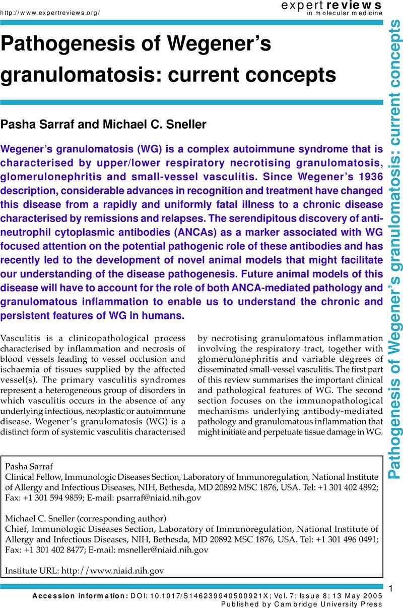 Pathogenesis Of Wegeners Granulomatosis Current Concepts Expert Reviews 1