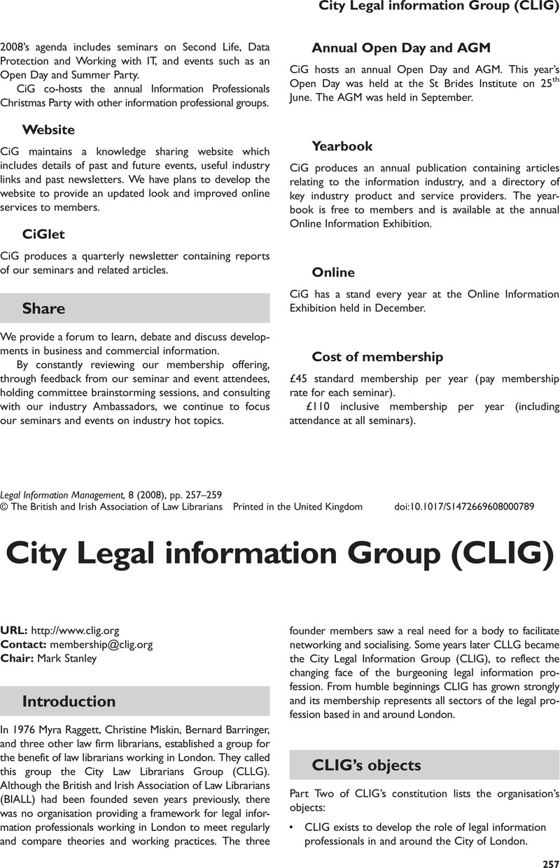 Legal information: a selection of articles
