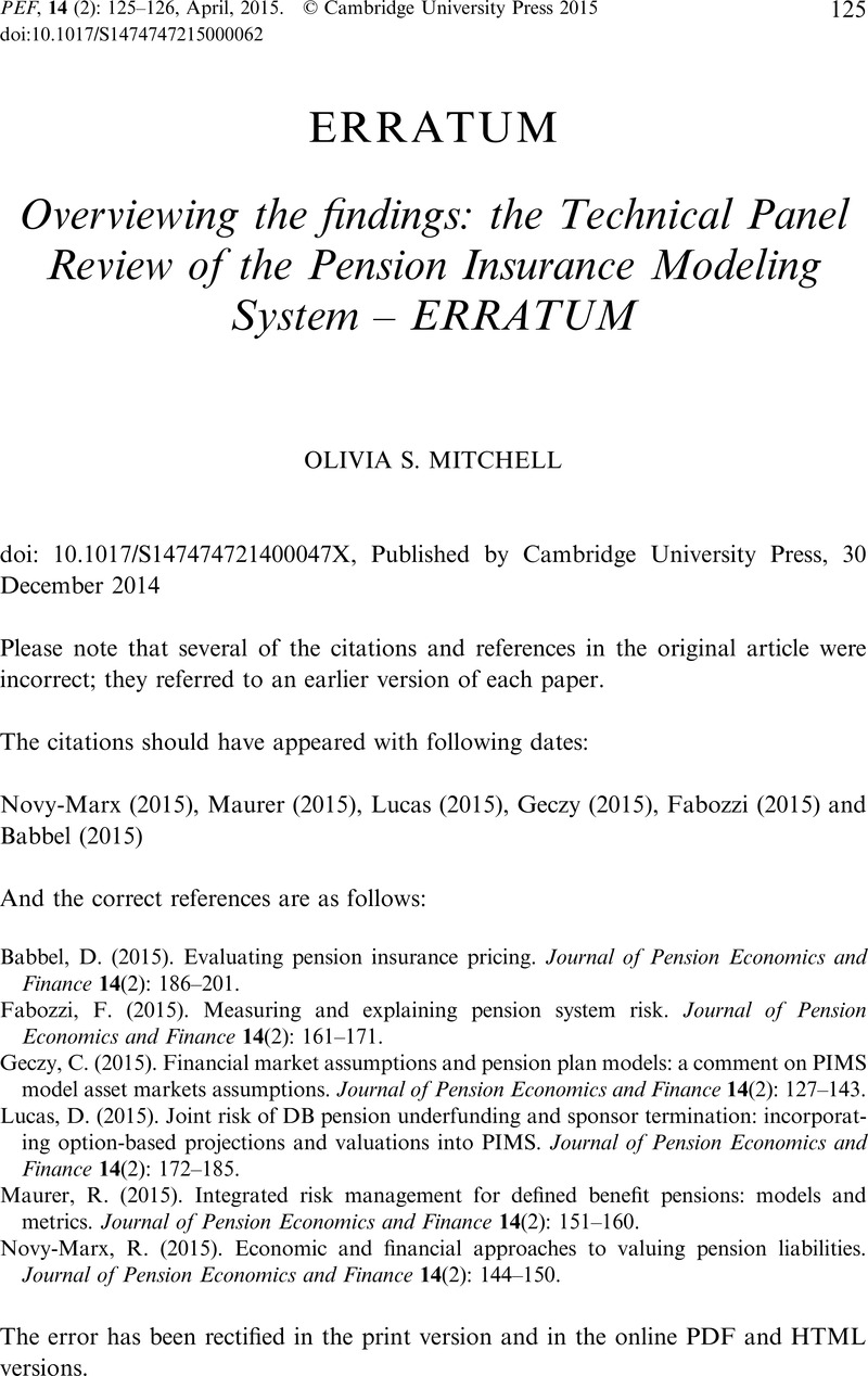 Overviewing the findings: the Technical Panel Review of the
