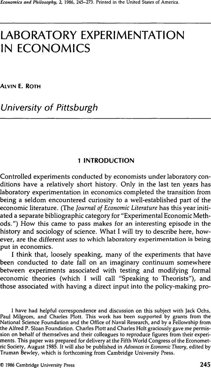Laboratory Experimentation in Economics | Economics