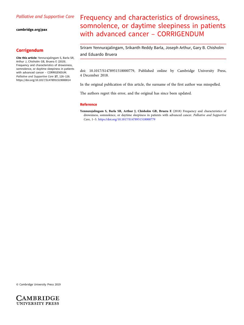 Frequency and characteristics of drowsiness, somnolence, or