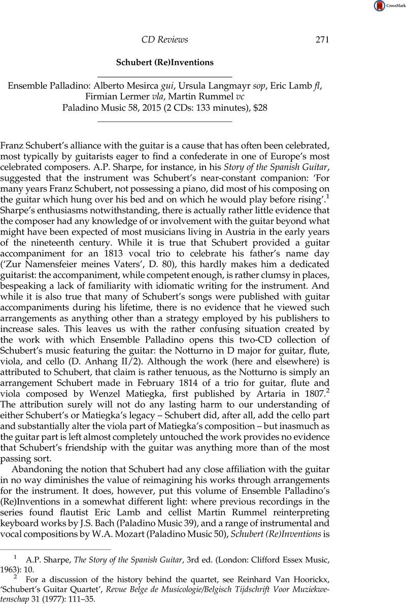 Schubert (Re)Inventions - Ensemble Palladino: Alberto Mesirca gui, Ursula  Langmayr sop, Eric Lamb fl, Firmian Lermer vla, Martin Rummel vc - Paladino  Music ...