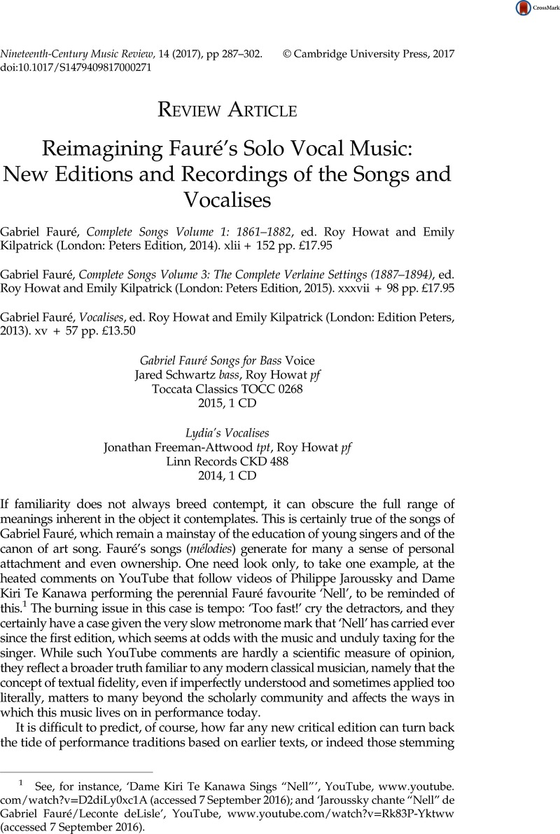 Reimagining Fauré's Solo Vocal Music: New Editions and