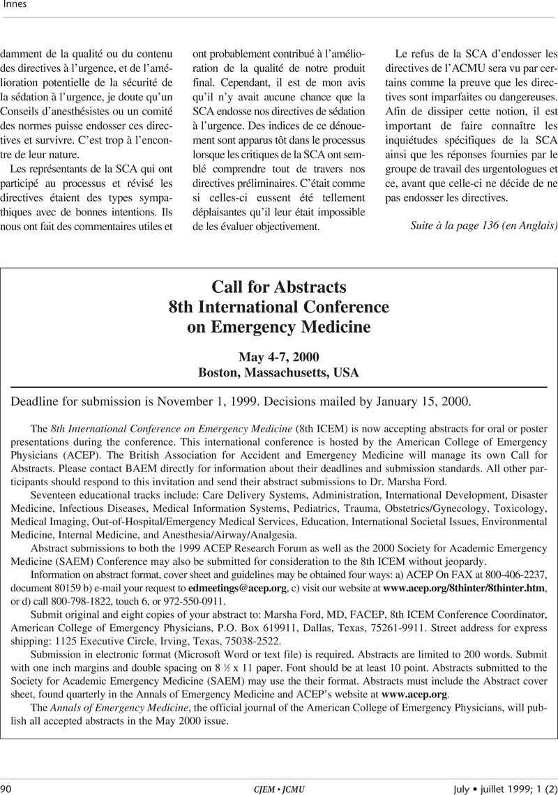 Call for Abstracts 8th International Conference on Emergency