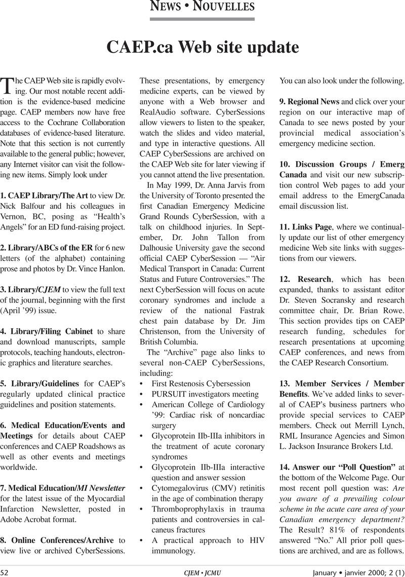 CAEP ca Web site update | Canadian Journal of Emergency Medicine