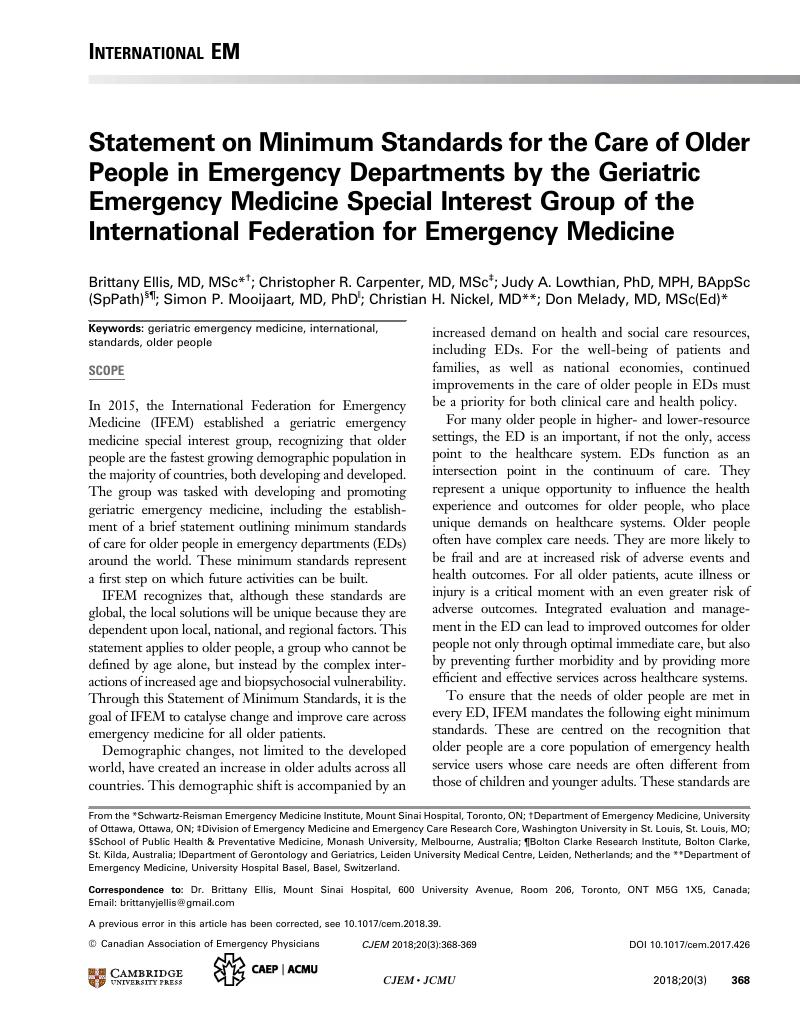 Statement on Minimum Standards for the Care of Older People