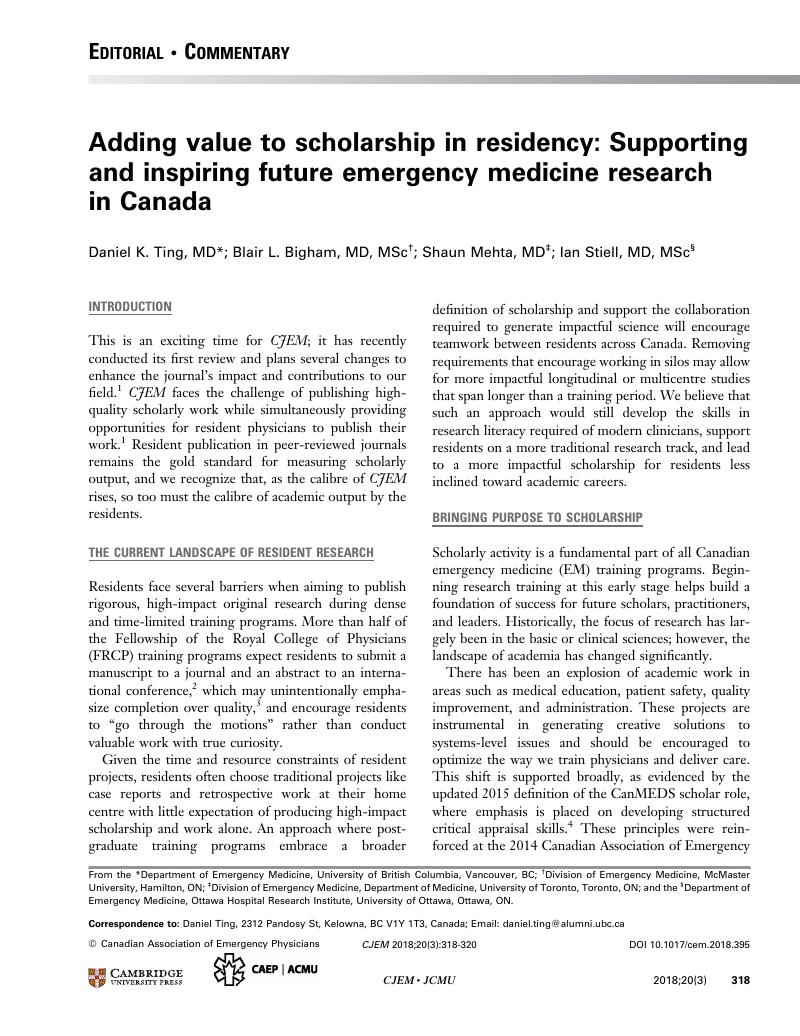 Adding value to scholarship in residency: Supporting and