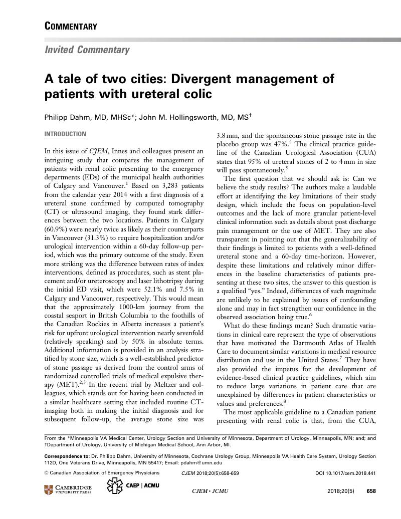 A tale of two cities: Divergent management of patients with