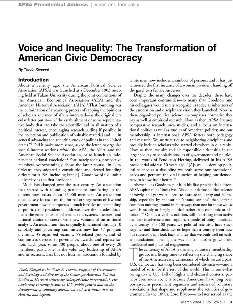Voice And Inequality The Transformation Of American Civic Democracy