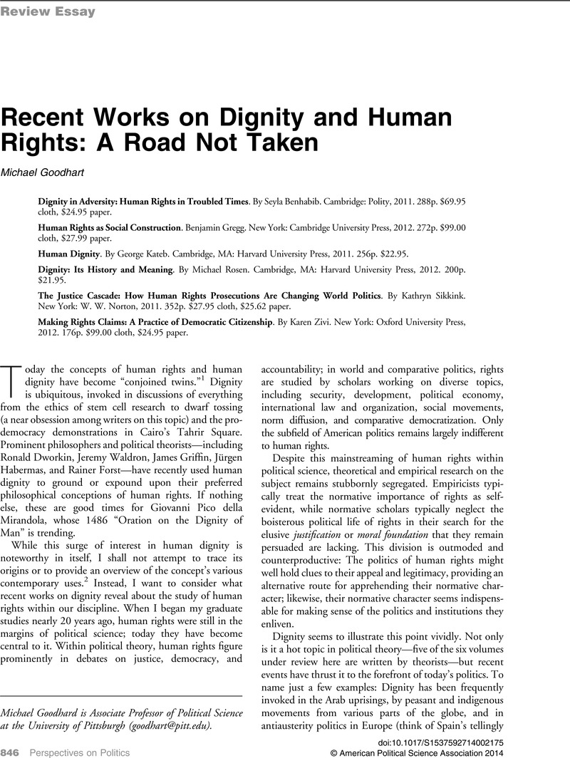 Recent Works On Dignity And Human Rights A Road Not Taken  Recent Works On Dignity And Human Rights A Road Not Taken