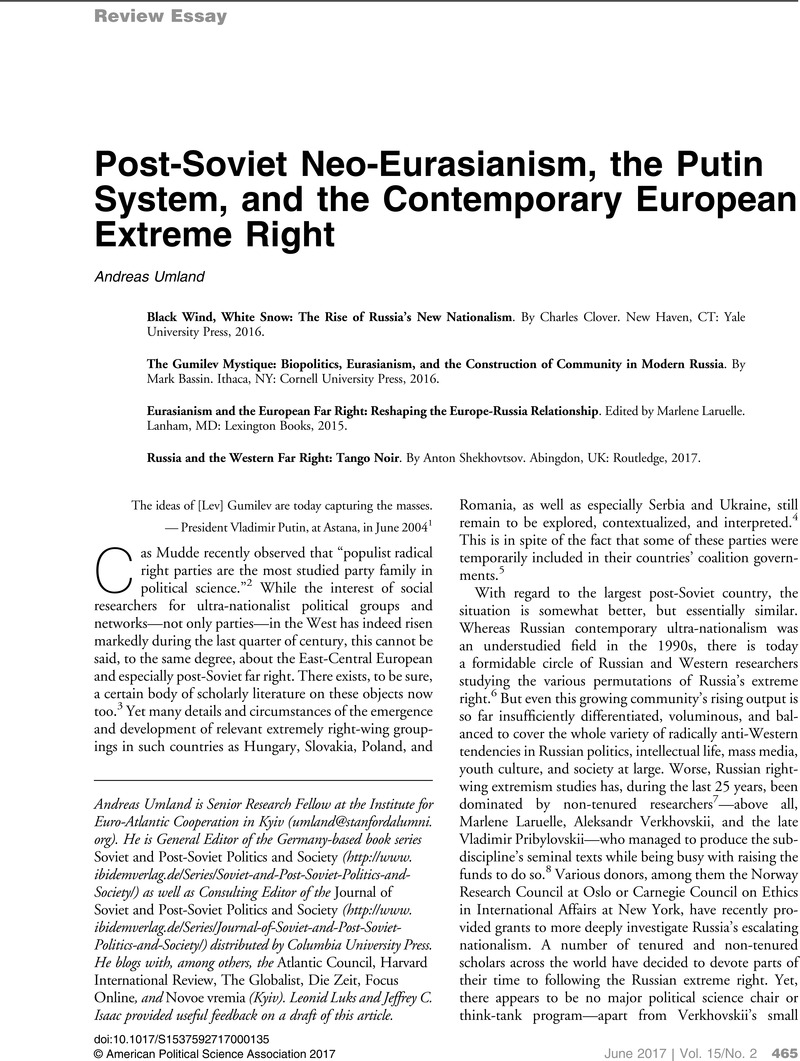 post soviet neo eurasianism the putin system and the