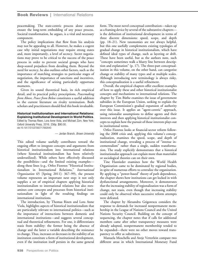 Historical Institutionalism and International Relations: Explaining