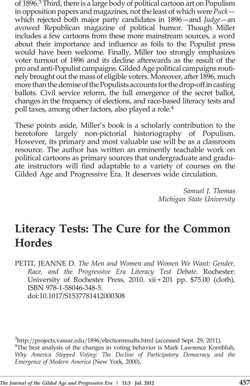 Literacy Tests The Cure For The Common Hordes Jeanne D Petit The