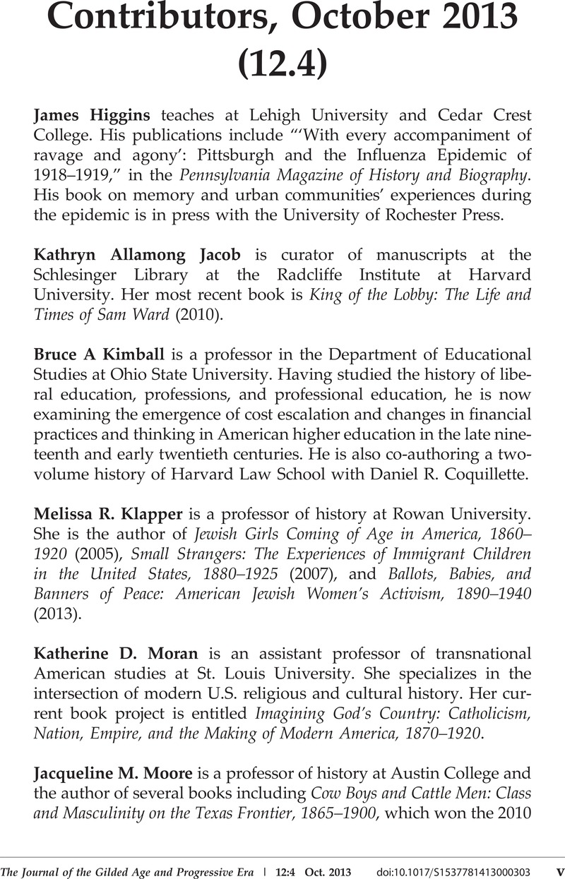Contributors, October 2013 (12 4) | The Journal of the