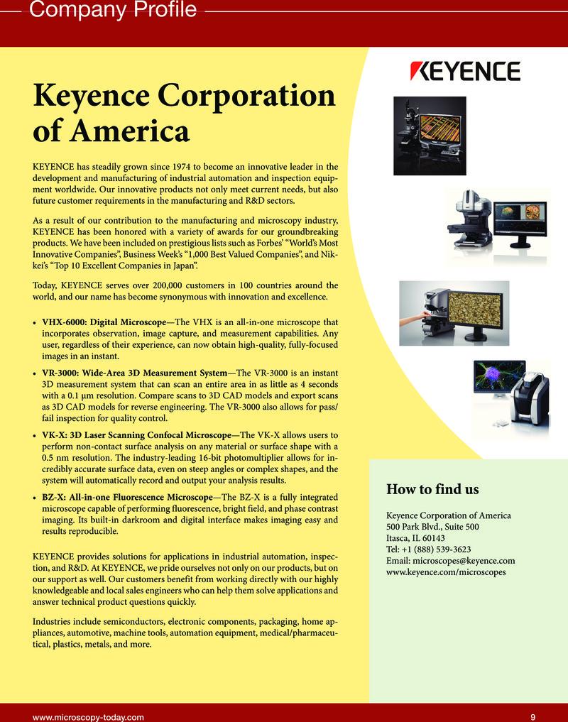 Keyence Corporation of America   Microscopy Today