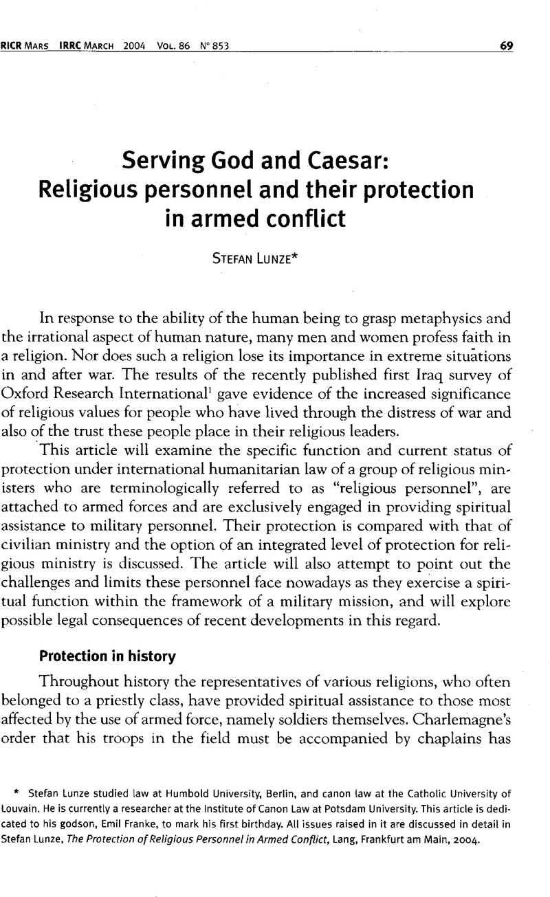 Serving God and Caesar: Religious personnel and their